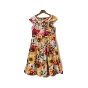 Women's Red & Yellow Floral Pleated Cocktail Dress